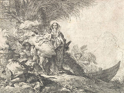 Relief - Joseph Adoring The Christ Child Near A Smoking Altar, From The Flight Into Egypt by Giovanni Domenico Tiepolo