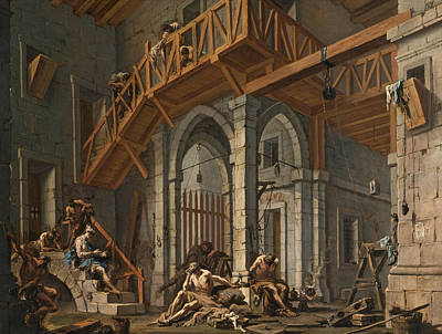 Art Print featuring the painting Joseph Interprets The Dreams Of The Pharaoh's Servants Whilts In Jail by Alessandro Magnasco