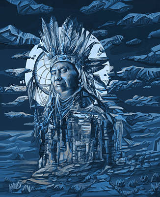Chief Joseph Painting - Joseph Nez Perce Decorative Portrait by Bekim Art