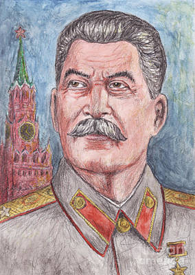 Soviet Union Mixed Media - Joseph Stalin Communist Leader Of Soviet Union  by Northern Wolf