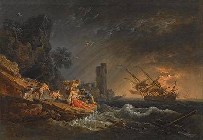 Lake Painting - Joseph Vernet A Shipwreck At Night Off The Coast by Artistic Rifki