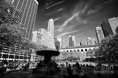 Bryant Park New York Photograph - Josephine Shaw Lowell Memorial Fountain In Bryant Park New York City Usa by Joe Fox