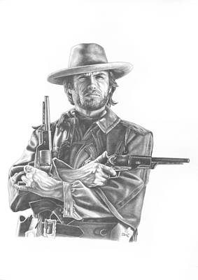 Outlaw Drawing - Josey by Jonathan W Brown
