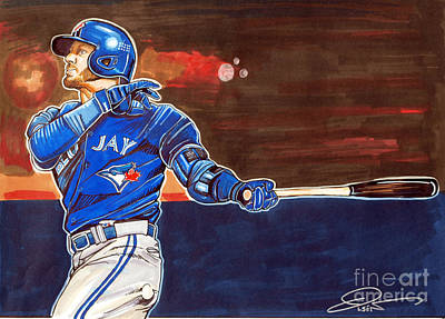 Blue Jay Drawing - Josh Donaldson by Dave Olsen