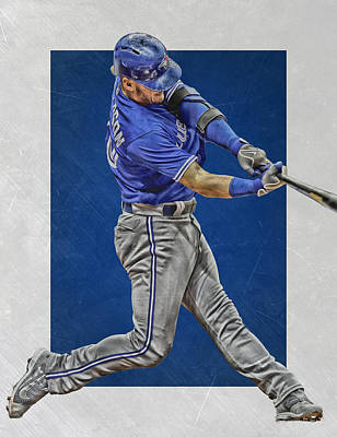 Gloves Mixed Media - Josh Donaldson Toronto Blue Jays Art 2 by Joe Hamilton