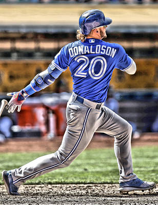 Baseball Painting - Josh Donaldson Toronto Blue Jays by Joe Hamilton