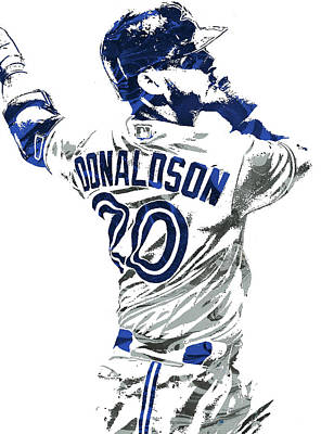 Door Mixed Media - Josh Donaldson Toronto Blue Jays Pixel Art by Joe Hamilton