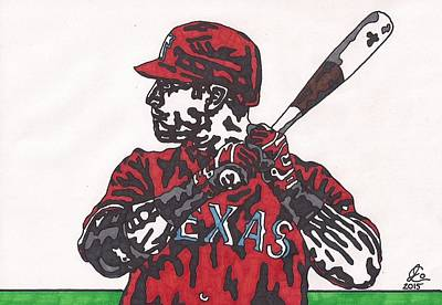 Drawing - Josh Hamilton 1 by Jeremiah Colley