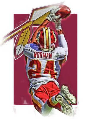 Norman Mixed Media - Josh Norman Washington Redskins Oil Art by Joe Hamilton