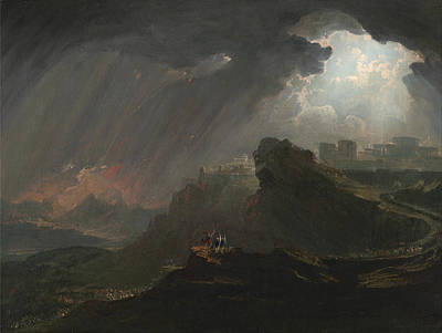 Fantastic Landscapes Painting - Joshua Commanding The Sun To Stand Still By John Martin by John Martin