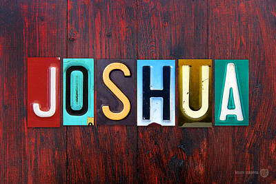 U.s.a Mixed Media - Joshua License Plate Lettering Name Sign Art by Design Turnpike