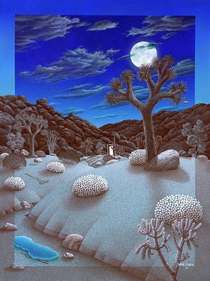 Joshua Tree At Night Art Print by Snake Jagger