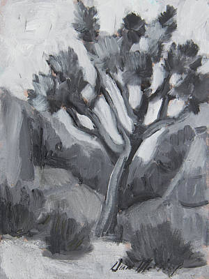 Painting - Joshua Tree Black And White Study by Diane McClary