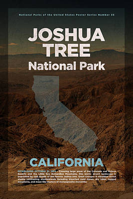 National Park Mixed Media - Joshua Tree National Park In California Travel Poster Series Of National Parks Number 33 by Design Turnpike