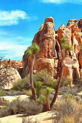 Digital Art - Joshua Trees And Rocks by Viktor Savchenko