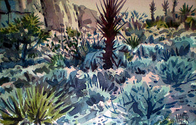 Joshua Painting - Joshua Trees And Yucca by Donald Maier