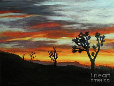 Painting - Joshua Trees At Sunset by Roseann Gilmore