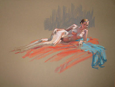 Painting - Josie With Turquoise Scarf Reclining by Christopher Reid