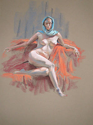Painting - Josie With Turquoise Scarf Seated by Christopher Reid