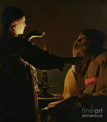 Jospeh And The Angel Art Print by Georges de la Tour