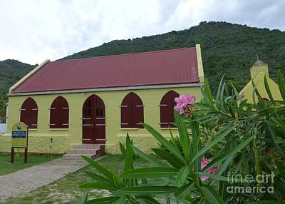 Photograph - Jost Van Dyke Methodist Church Tourist Postcard  by Barbie Corbett-Newmin
