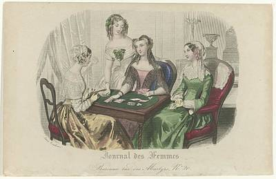 Colorful Art Journal Painting - Journal Des Femmes, Ca. 1840, No. 1575, Anonymous, C. 1840 by Celestial Images