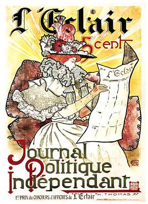 Mixed Media - Journal Politique Independant - Political Newspaper - Vintage Art Nouveau Poster by Studio Grafiikka