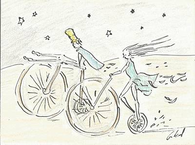 Bycicle Drawing - Journay by Gabriel Coelho