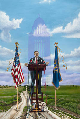 Painting - Journey Of A Governor Dave Heineman by Cindy D Chinn