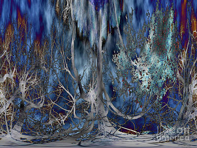Journey Of The Willow - Abstract Blue/silver Tree  Original by Willow Perkinson