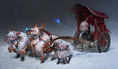 Cartoon Characters Digital Art - Journey To The West by Te Hu
