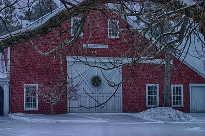 Red Barn In Winter Digital Art - Journeys End Maine by Jeff Folger