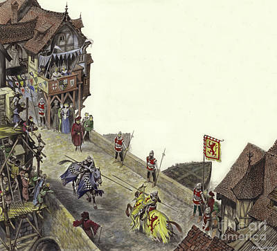 English Gouache Painting - Joust On Old London Bridge On 23 April 1390  by Peter Jackson