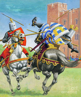 Medieval Painting - Joust by Pat Nicolle