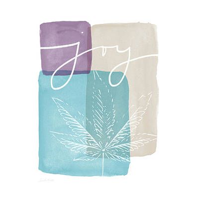 Joy Cannabis Leaf Watercolor- Art By Linda Woods Art Print by Linda Woods