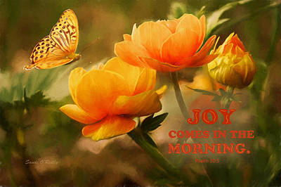 The Early Morning Digital Art - Joy Comes In The Morning Scripture by Sandi OReilly