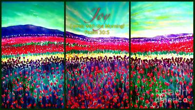 Painting - Joy Comes With The Morning Triptych  by Kimberlee Baxter