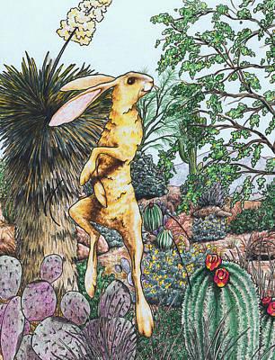 Desert Jackrabbit Drawing - Joy In The Desert by Theresa Higby