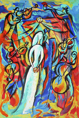 Painting - Joy Of Jewish Wedding by Leon Zernitsky