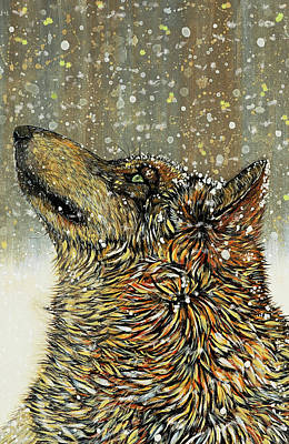 Wolf Painting - Joy The Timber Wolf Card by Debbie Chamberlin