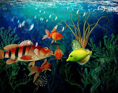 Goldfish Digital Art - Joy To The Fishes  by Terry Fleckney