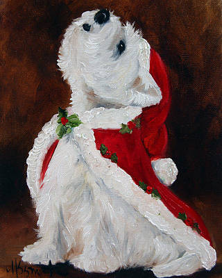 Westie Dog Painting - Joy To The World by Mary Sparrow