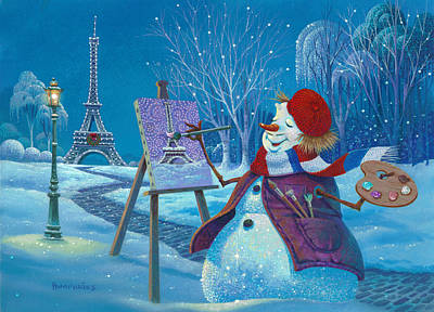 Snow Scene Wall Art - Painting - Joyeux Noel by Michael Humphries