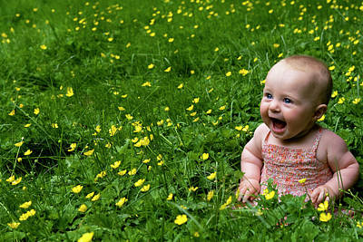 Joyful Baby In Flowers Art Print by Lorraine Devon Wilke