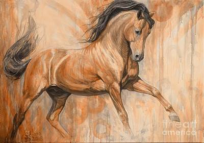 Bay Horse Painting - Joyful Bay by Silvana Gabudean Dobre