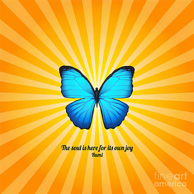 Digital Art - Joyful Butterfly With Quote By Rumi by Ginny Gaura