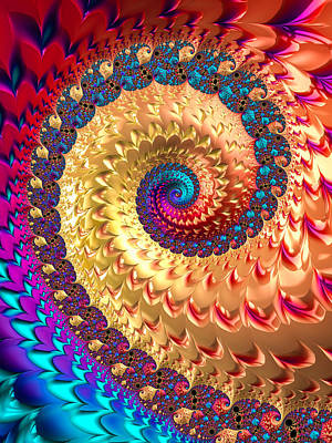 Digital Art - Joyful Fractal Spiral Full Of Energy by Matthias Hauser