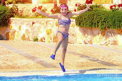 Photograph - Joyful Girl Jumping To The Pool by Anna Om