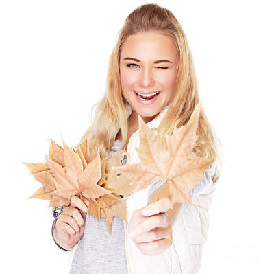 Photograph - Joyful Girl With Dry Leaves by Anna Om
