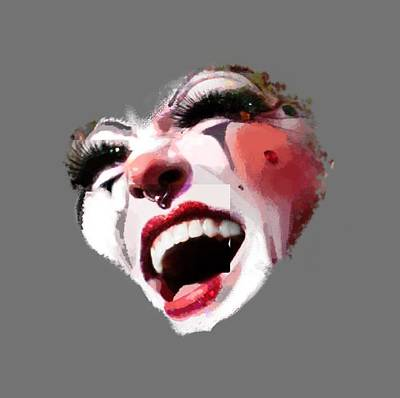 Noir Digital Art - Joyful Klown by Eddie Rifkind
